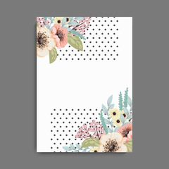Flowers greeting card template. Vector frame.