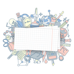 Welcome Back to School Hand Drawn Supply doodles background. Vector illustration of cartoon back to school supplies. Back to School Banner from set of cartooning icons of education, science objects