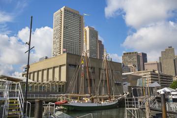 Boston skyline behind a sailboat