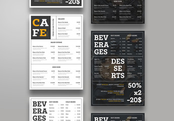 Restaurant Menu Layout in Two Colors