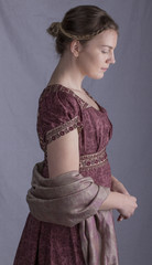 Regency woman with paisley shawl in profile