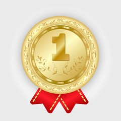Gold medal vector. Golden 1st place badge. Sport game award with red ribbon.