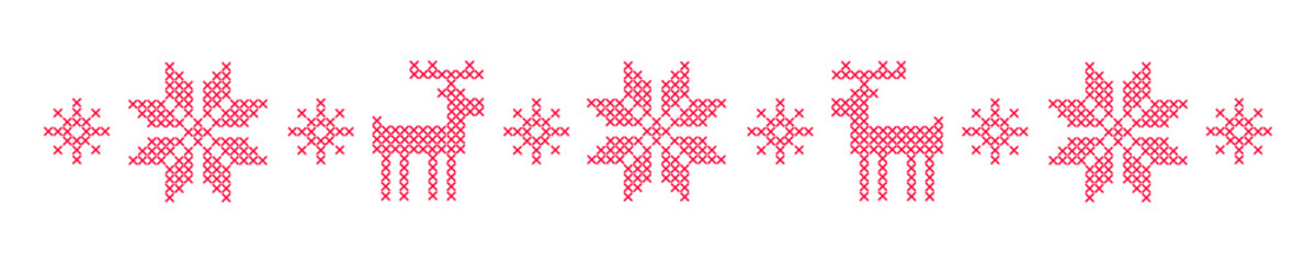 Vector illustration with red background and white cross stitched snowflakes and reindeers. Ornamental decoration for Christmas and New Year winter holidays