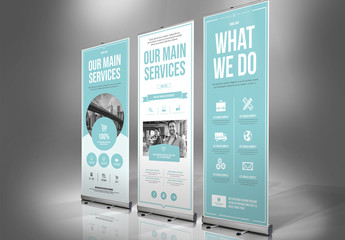 Blue and White Banner Advertisement Layout