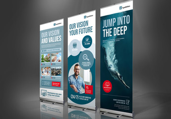 Blue and White Banner Advertisement Layout with Red Accents