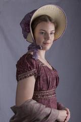 Regency woman wearing a bonnet