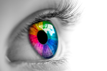 Eye With Rainbow Colors Wall mural