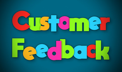 Customer Feedback - overlapping multicolor letters written on blue background