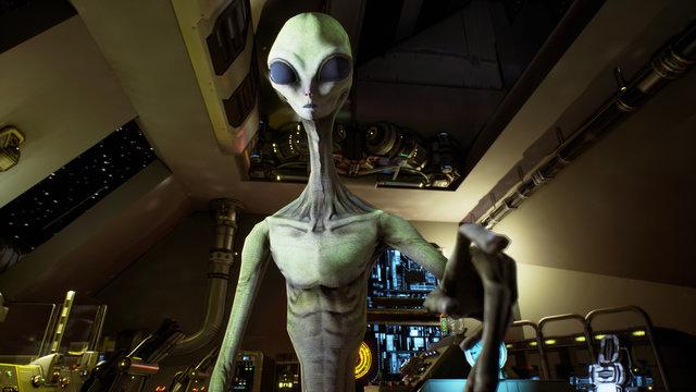 Alien presses the keys on sci-fi hologaphic screen. 3D Rendering