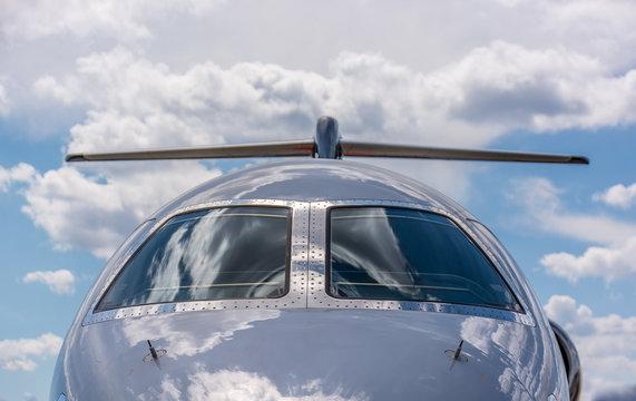 Private Jet shinny windshield