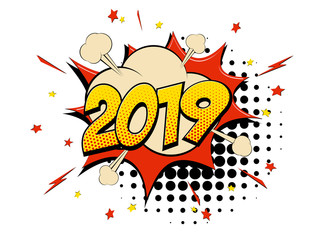 Happy New Year 2019 pop art comic background halftone dots.