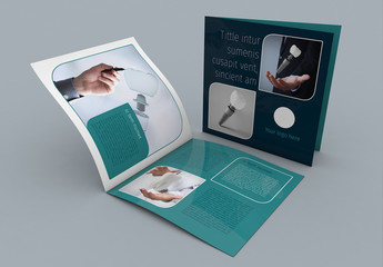 Blue and Teal Square Brochure Layout