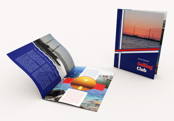 Blue Brochure Layout with Diagonal Stripe Elements