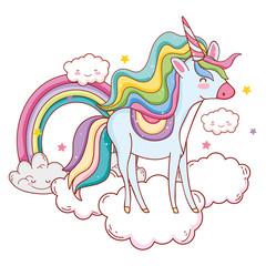 Unicorn on clouds cartoons