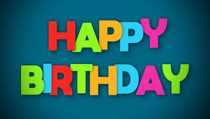 Happy Birthday - overlapping multicolor letters written on blue background