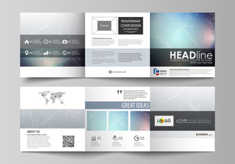 Set of business templates for tri fold square design brochures. Leaflet cover, vector layout. Compounds lines and dots. Big data visualization in minimal style. Graphic communication background.
