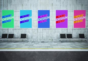 5 Public Transit Station Ads Mockup