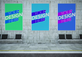 3 Public Transit Station Ads Mockup