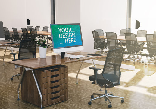 Computer on Wooden Desk in Modern Office Mockup