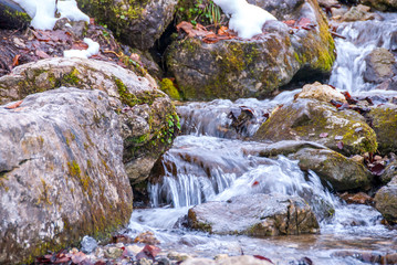 Alpine Mountain Stream in Winter