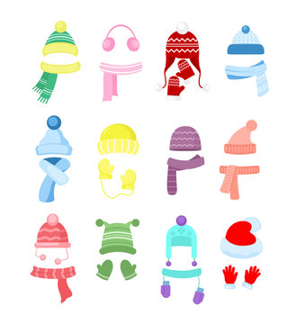 Vector illustration set of colorful winter or autumn hats, headwear collection. Knitting hats, scarves and gloves for girls and boys isolated on white background in cartoon flat style.