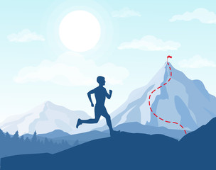 Vector illustration of running man in mountains, going to the top with the flag, business conception, achievement of the goal.