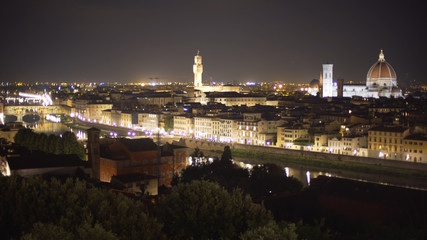 In focus cityscape of Florence, Italy at night with bright city lights