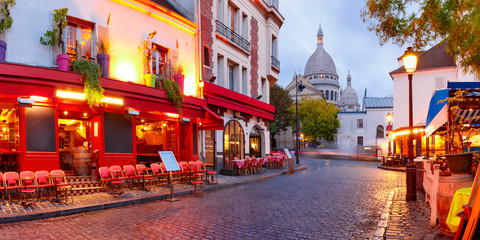 Garden Poster Paris The Place du Tertre with tables of cafe and the Sacre-Coeur in the morning, quarter Montmartre in Paris, France