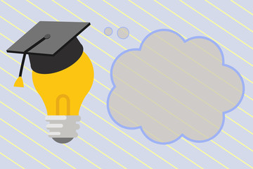 Flat design business Vector Illustration concept template copy space text for Ad website esp isolated 3d isometric. 3D Graduation Cap Thinking Resting on Bulb with Blank Cloud Thought Bubble