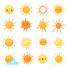 Sun vector sunny icon with yellow sunlight and sunshine emoticon illustration set of bright sunburst weather sign sunset or sunrise isolated on white background