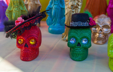 Traditional small decorated sugar skulls for Dia de los Muertos/Day of the Dead celebration