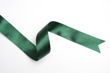 green ribbon border isolated on white