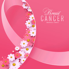 Breast cancer october awareness month pink ribbon and spring poster background,vector illustration