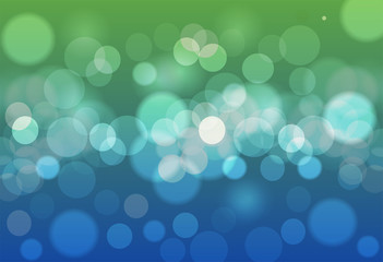 abstract background blue and green bokeh circles. Beautiful background with particles.