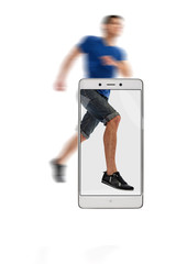 Legs of male runner photographed on smartphone, blurred behind border. conceptual image with a smartphone, demonstration of device capabilities