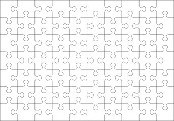Jigsaw puzzle blank template or cutting guidelines of 70 transparent (for vector mode) pieces. Classic style pieces are easy to separate (every piece is a single shape).