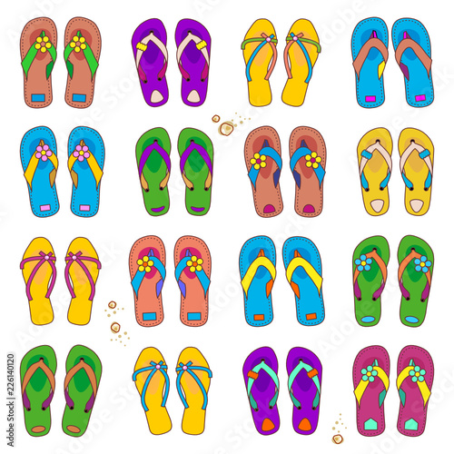c7d9bf481e7e Summer or vacation design elements - set of 16 colorful pairs of beach flip- flops
