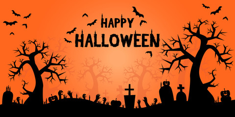 Happy Halloween silhouette background wallpaper for banner or poster