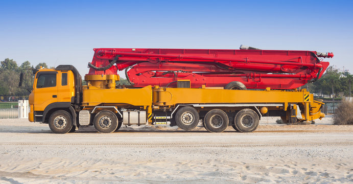 truck or machine with concrete pump for construction and industrial use
