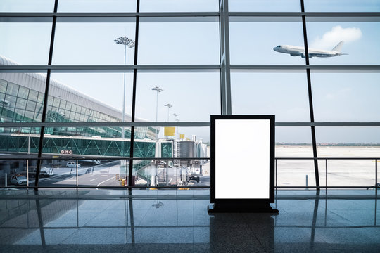 blank light box in airport
