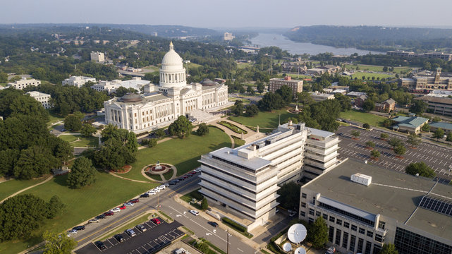 Aerial View State Capitol Building Grounds Arkansas River Little Rock