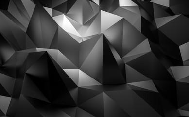 3d black tech geometric Low poly corporate illustration background.