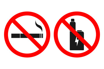 NO VAPING sign. NO SMOKING sign. Vector.