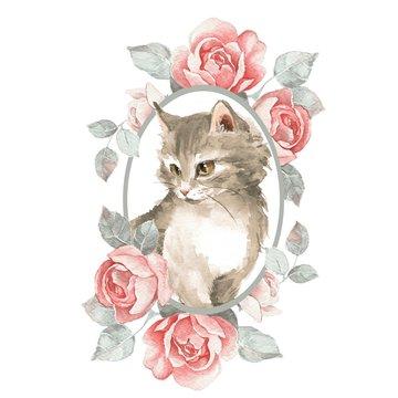 Cat. Cute kitten and roses. Watercolor illustration