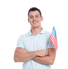 Portrait of man with American flag on white background