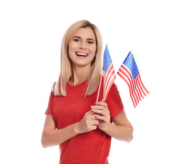 Portrait of woman with American flags on white background