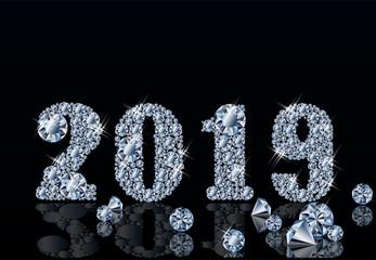 Diamond background Happy New 2019 Year, vector illustration