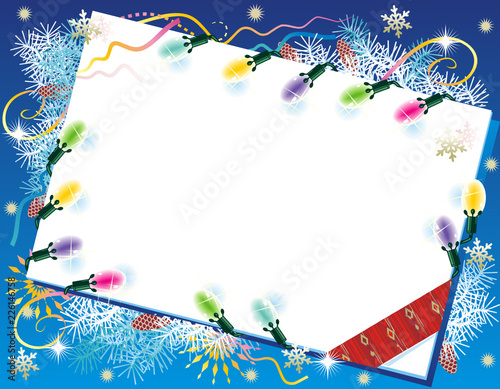 christmas or new year background with blank letter or gift card christmas lights fir