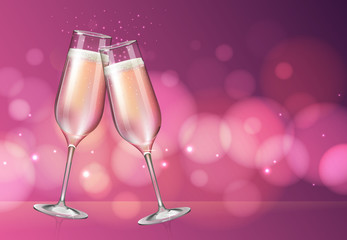 Realistic vector illustration of champagne glass on blurred holiday pink sparkle background