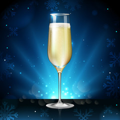 Realistic vector illustration of champagne glass on blurred holiday winter blue sparkle background